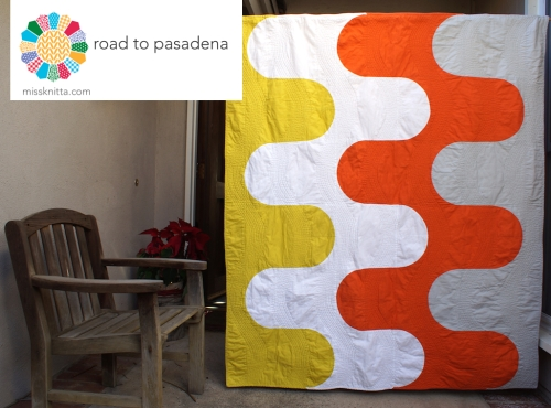 Road to Pasadena is the January free pattern for the Modern Quilt Guild's 2015 Quilt of the Month! A curvy quilt pattern by Kendra Nitta www.missknitta.com